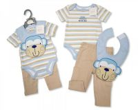 "BIS1702, ""Nursery Time"" brand baby boys trousers, bodyvest & bib set £4.50.  pk6.."