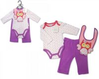"BIS1625,""Nursery Time"" Baby girls 3 pcs Set (Bodyvest, Trousers, Bib) £4.50.  PK6.."