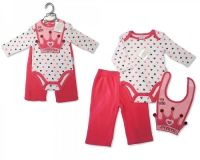 "BIS1626,""Nursery Time"" Baby girls 3 pcs Set (Bodyvest, Trousers, Bib) £4.50.  PK6.."