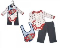 "BIS1628,""Nursery Time"" Baby Boys 3 pcs Set (Bodyvest, Trousers, Bib) £4.50.  PK6.."