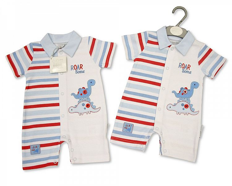 *BIS1861, Baby Boys Cotton Romper - Dino £4.80.  pk6..