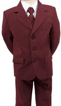 N16, Boys 5 piece burgundy suit- shirt, jacket, trouser, waistcoat & tie...