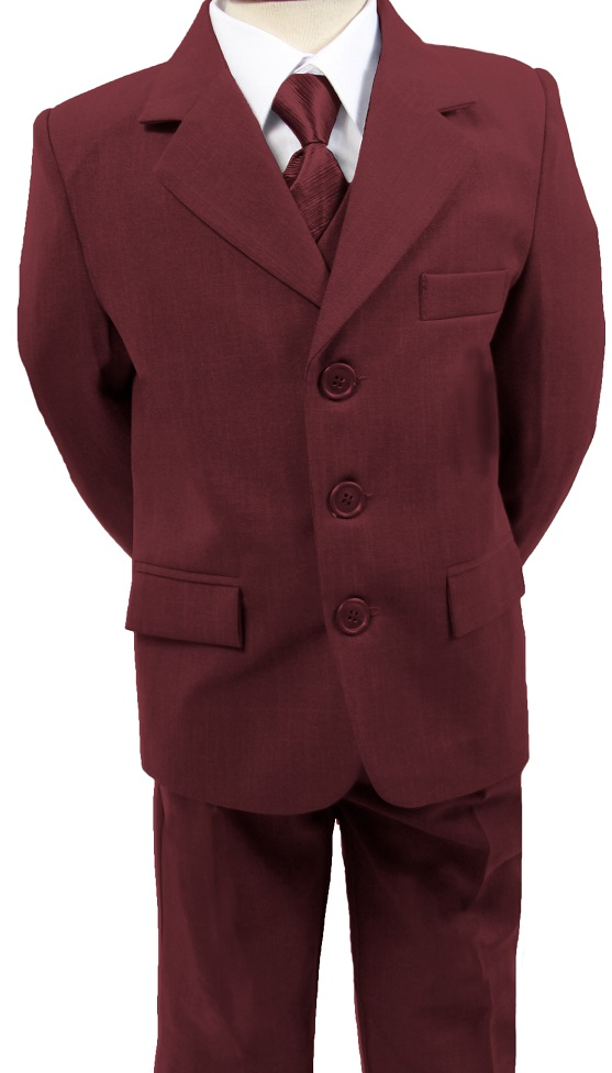 N16, Boys 5 piece burgundy suit- shirt, jacket, trouser, waistcoat & tie...