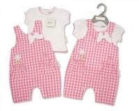 "BIS1809, ""Nursery Time"" Brand Baby Girls 2 pcs Romper - Flower £5.95.  pk6..."