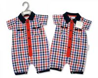 "BIS1801, ""Nursery Time"" Brand Baby Boys Woven Romper - Little Man £4.50. pk6.."