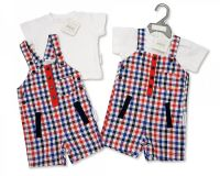 "BIS1800, ""Nursery Time"" Brand Baby Boys 2 pcs Woven Dungaree Set - Little Man £6.95.  pk6.."