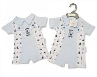 "BIS1823, ""Nursery Time"" Brand Baby Boys Romper With Collar - Little Sailor £3.95.  pk6.."