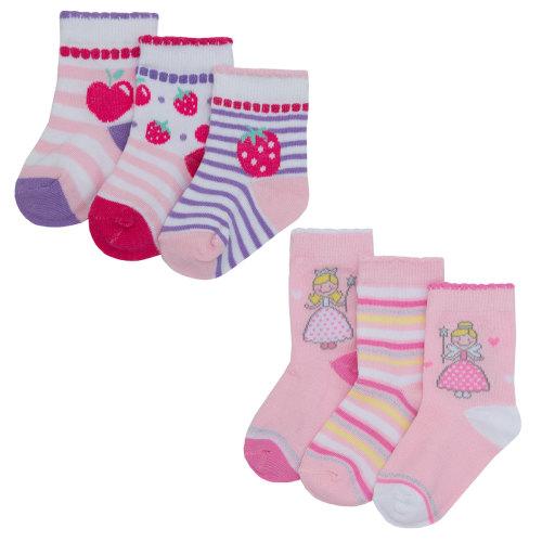 44B695, Baby girls 3 in a pack cotton rich design socks £1.00.   24pks...