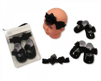 "GP0728, ""Nursery Time"" Brand Baby Headband and Shoes Set - Black £3.90.  pk6.."