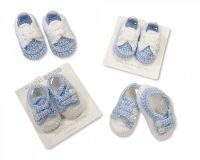 "BS346, ""Nursery Time"" Brand Baby Knitted Booties- Sky £2.25.  pk6.."