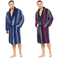 HT716B, Mens coral fleece striped robe with contrast collar £8.95. pk10..
