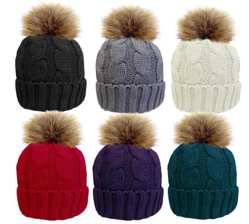 HAI619, Ladies cable hat with detachable faux fur pom pom £2.40.  pk12..