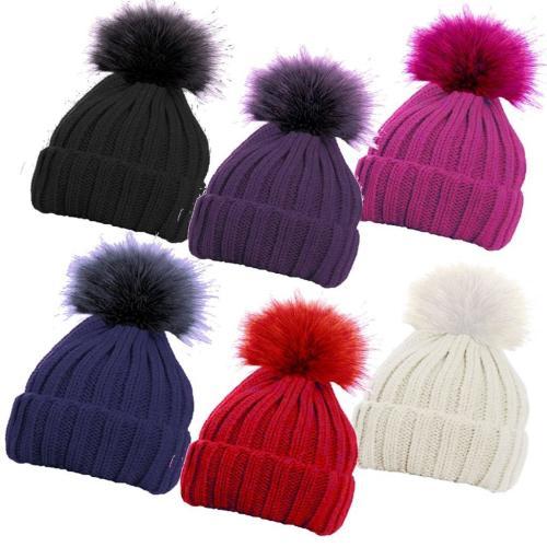 HAI645, Girls ribbed hat with faux fur pom pom £1.75.  pk12..