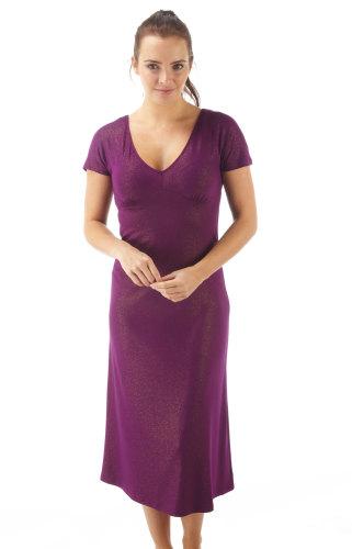 SU02013MAG, Ladies long length V neck nightdress in magenta glitter colour £4.00.  pk6...