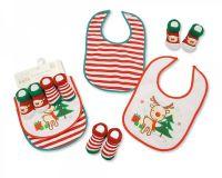 "GP0689, ""Nursery Time"" Brand Baby Christmas Bibs and Socks 4 Pieces Set (2 Bibs, 2 Pairs of Socks) £3.25.  6pks.."