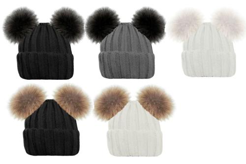 HAI658, Ladies Knitted Ribbed Hat With Twin Faux Fur Bobble £2.40.  pk12.....