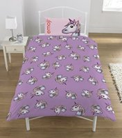 "*V111, Official ""Emoji""""Unicorn"" ""Reversible"" Single Duvet Cover Set £10.50. pk3...."