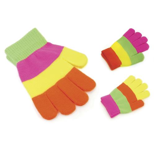 GL104, Kids Striped Neon Magic Gloves £0.49.  pk12..