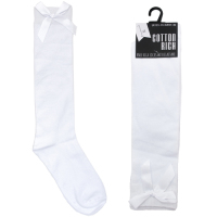 SK362, Girls knee high white socks with ribbon bow detail £8.75 a dozen.  3 dozen....