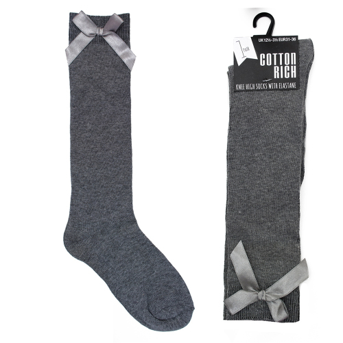 *SK364, Girls knee high grey socks with ribbon bow detail £8.25 a dozen.   3 dozen....