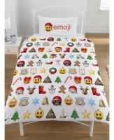 """V693, """"Emoji""""""""Christmas""""""""Reversible"""" Single Duvet Cover Set £9.95.  pk3..."""