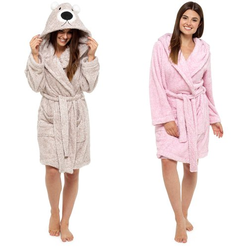 LN633B, Ladies coral fleece animal embroidered hooded robe £10.75.  pk12..