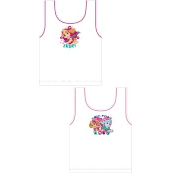 """Code:27861, Official """"Paw Patrol"""" girls 2 in a pack vests £1.90. 18pks.."""