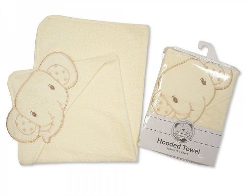 *BW002C, Baby Hooded Towel- Elephant - Cream (OUT OF STOCK) £3.75.  pk3...
