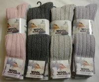 34SED038, Ladies chunky wool blend long hose socks.  1 dozen...