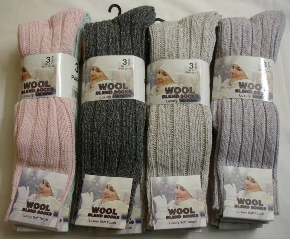 34SED038, Ladies 3 in a pack chunky wool blend long hose socks £2.44.  1 do