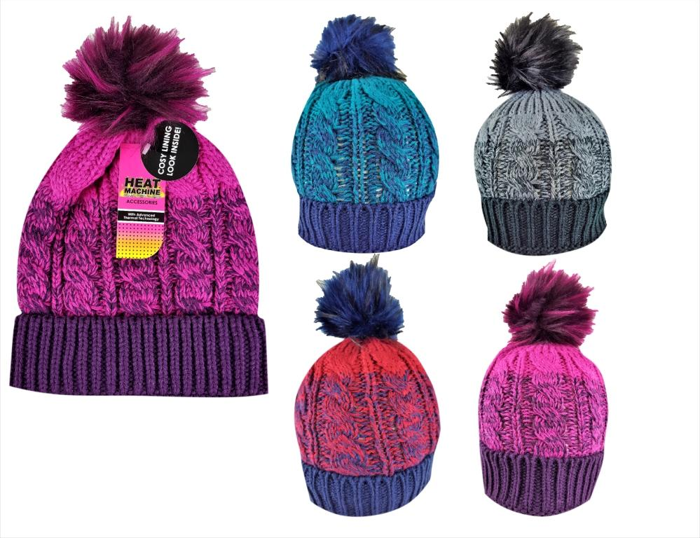 *Code:2183, Ladies sherpa lined hat with bobble £2.50.  pk12..