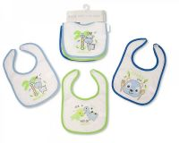 "BW648B, ""Nursery Time"" Brand Baby 3 in a Pack Meal Bibs Boys with PEVA Back - £1.05.  6pks.."