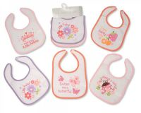 "BW640G, ""Nursery Time"" Brand Baby Girls 5 in a Pack Bibs with PEVA Back - £1.60.  6pks.."