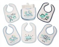 "BW640B, ""Nursery Time"" Brand Baby Boys 5 in a Pack Bibs with PEVA Back - £1.60.  6pks.."