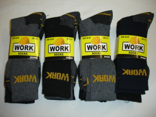 BB20, Mens 3 in a pack work socks £1.44.  10 dozen...