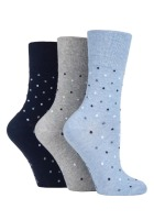 "SOLRH141, Ladies 3 in a pack ""Gentle Grip"" design socks £2.00.  1 dozen..."