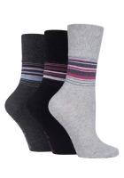"""SOLRH149, Ladies 3 in a pack """"Gentle Grip"""" design socks £2.00.  1 dozen..."""