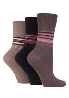 """SOLRH152, Ladies 3 in a pack """"Gentle Grip"""" design socks £2.00.  1 dozen..."""