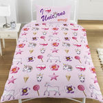 "*V28, Official Emoji ""Unicorn/Mermaid"" reversible single duvet cover set £10.75. pk3..."