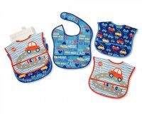 "BW818B, ""Nursery Time"" Brand Baby Boys 3 in a pack Polyester Bibs - Cars £2.50.  6pks..."