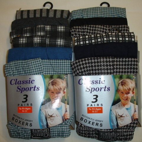 RH967, Boys 3 in a pack boys boxer shorts £1.63.  4pks...