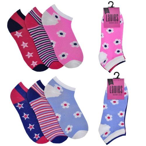 SK485, Ladies 3 in a pack design trainer socks £0.69.  12pks...