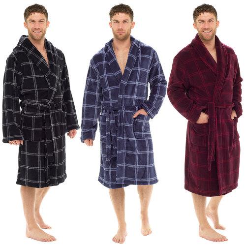 *HT502B, Mens check print super soft robe £9.00.  pk15...