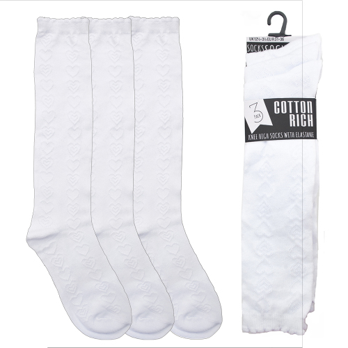 SK361, Girls 3 in a pack white socks with hearts detail £1.30.  12pks...