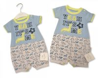 BIS2012, Baby Boys Short Cotton Romper - Dino £5.95.  pk6..