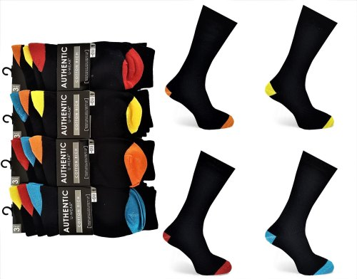 Code:2023, Mens 3 in a pack coloured heel & toe design socks £0.94.  1 dozen (12 pairs)....