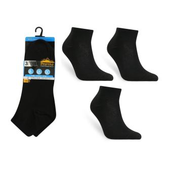 Code:1927, Mens 3 in a pack plain black trainer socks  0.68.  10 dozen......