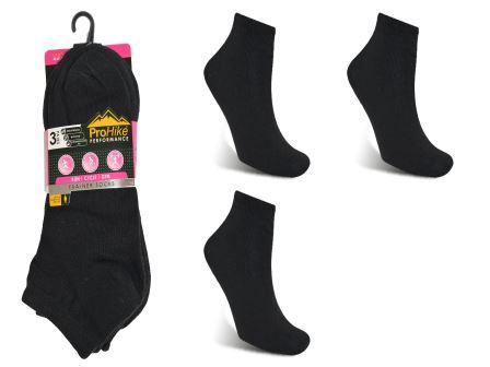 Code:1932, Ladies 3 in a pack black trainer socks £0.74.  1 dozen...
