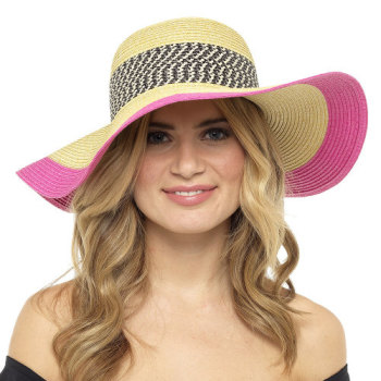 GL715, Ladies Floppy Hat with Pink Trim £2.95.  pk24..