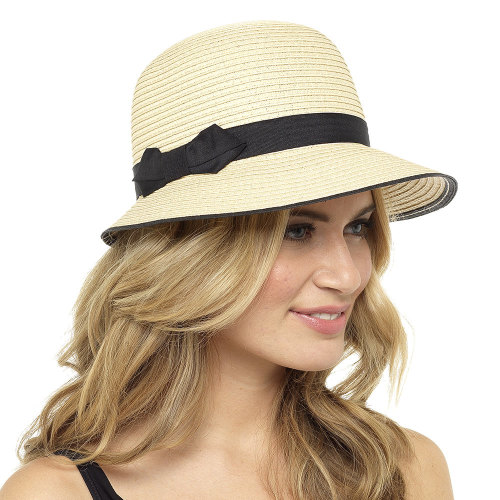 GL712, Ladies Cloche Summer Hat with Bow £2.35.  pk48..